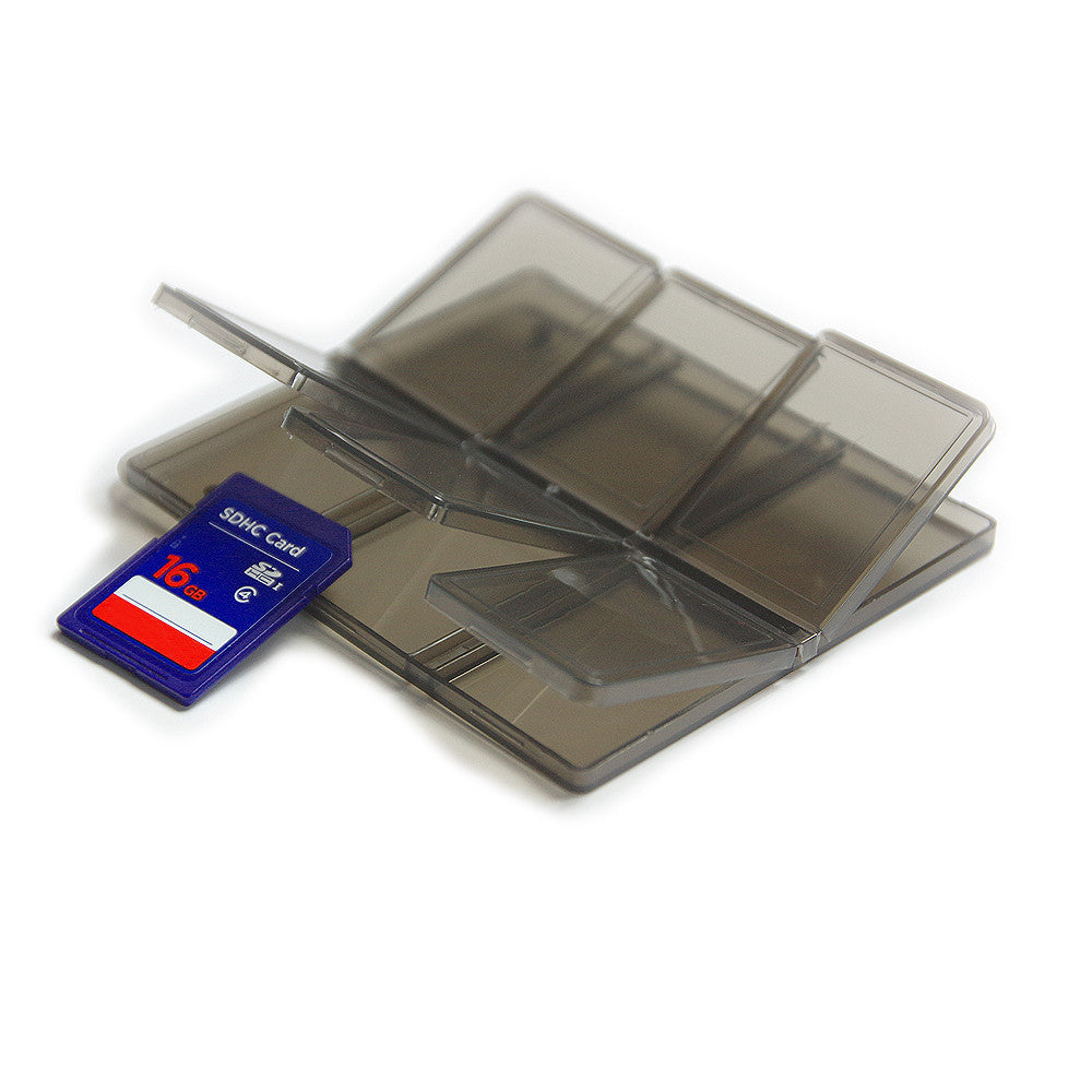 (2 PCS) SD Memory Card Carry Case Holder, Stores 6, Plastic Semi Transparent, Suitable for SDHC / SD with Gray Cleaning Cloth Fabric