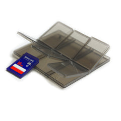 (5 PCS) SD Memory Card Carry Case Holder, Stores 6, Plastic Semi Transparent, Suitable for SDHC / SD, Secure and Safe Store
