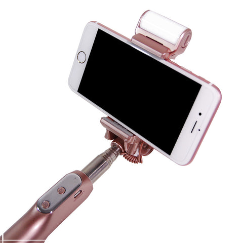 Bluetooth Selfie Stick with Fill Light, Mirror, Extendable Handle Grip Bar, Remote Cellphone Camera Shutter Trigger for iPhone, Galaxy, Camera Monopod, Facial Beauty Shot