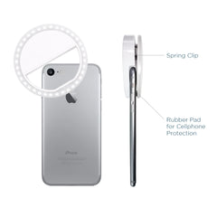 LED Portable Mini Selfie Ring Light for Smartphone, Camera Light for iPhone, iPad, Samsung Galaxy, Brightness Level Control, Rechargeable USB Cable, Photo Studio