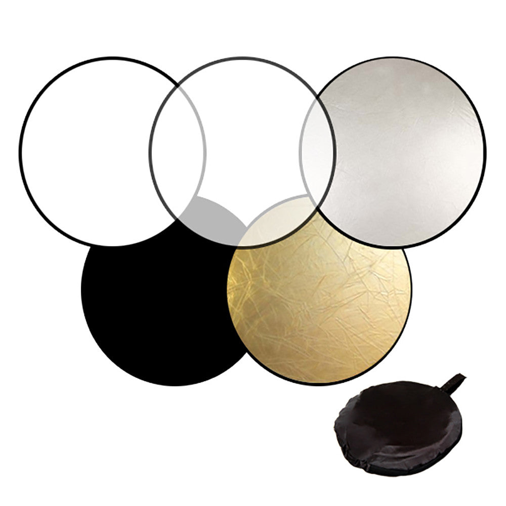 "43"" Photography Photo Video Studio Lighting Disc Reflector, 5-in-1, 5 Colors, Black, White, Gold, Silver, Translucent"