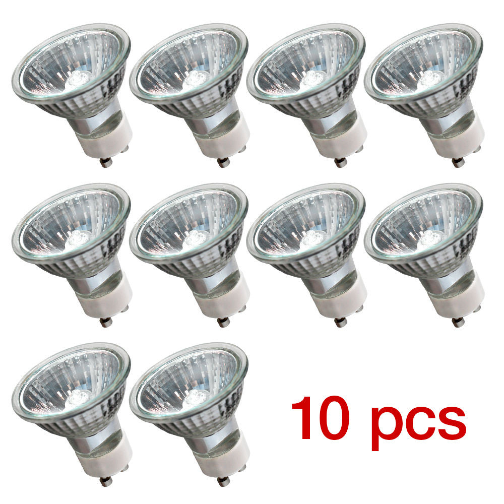 [10pk]GU10 20W 120V Bulb Halogen Flood Light Bulb Dimmable w/ Cover Glass