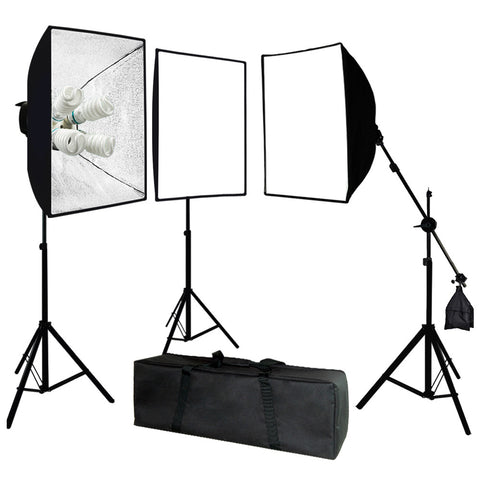 Photo Video Studio 2400 Watt Softbox Continuous Light Kit with Overhead Head Light Boom Kit