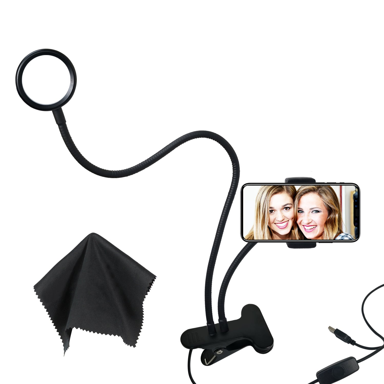Loadstone Studio Selfie Ring Light with Black Cleaning Cloth and Gooseneck Cell Phone Holder Stand for All Smart Phone, 360° Rotating, Adjustable Brightness for Photography, Makeup, WMLS4619
