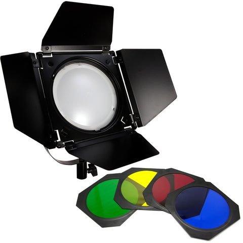 Loadstone Studio LED Barn Door Lighting Set, 4 Color Gel Filters for Professional Photography Lighting, Photography Studio, WMLS4634