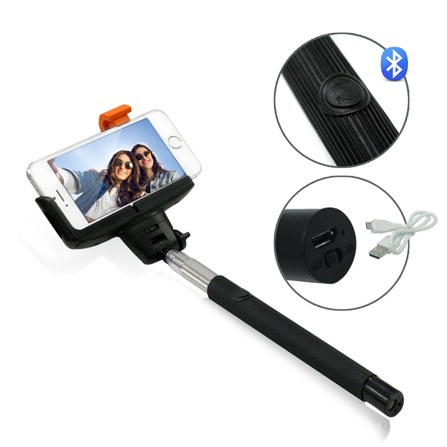 Loadstone Studio Extendable Selfie Stick and Cellphone Holding Spring Clip for Portrait Bluetooth on iPhone and Android, Monopod Cell-phone Tripod, USB Charging Cable, WMLS4662