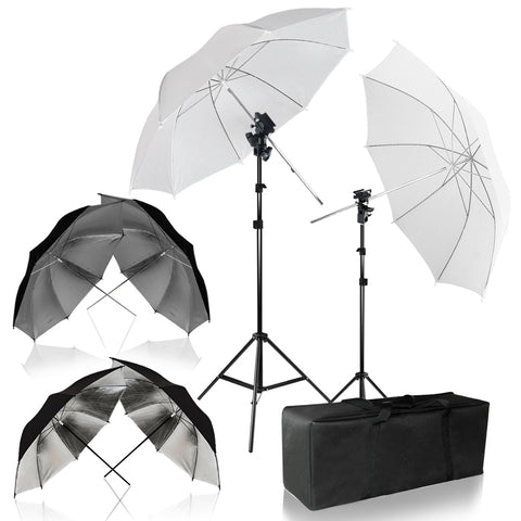 Umbrella Reflector Photo Video Kit, White, Silver, Gold Umbrella Soft Box Diffuser with Light Stand Tripod & Flash Bracket Shoe Mount Adapter, Carry Bag, Photo Studio, WMLS4296