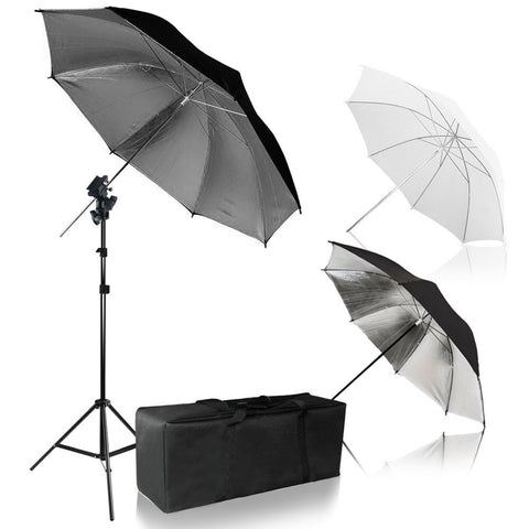 Umbrella Reflector Photo Video Kit, White, Silver, Gold Umbrella Soft Box Diffuser with Light Stand Tripod & Flash Bracket Shoe Mount Adapter, Carry Bag, Photo Studio, WMLS4269
