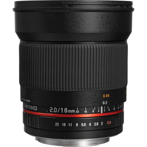Samyang 16mm F2.0 ED AS UMC CS Lens for Nikon with Focus Confirm Chip