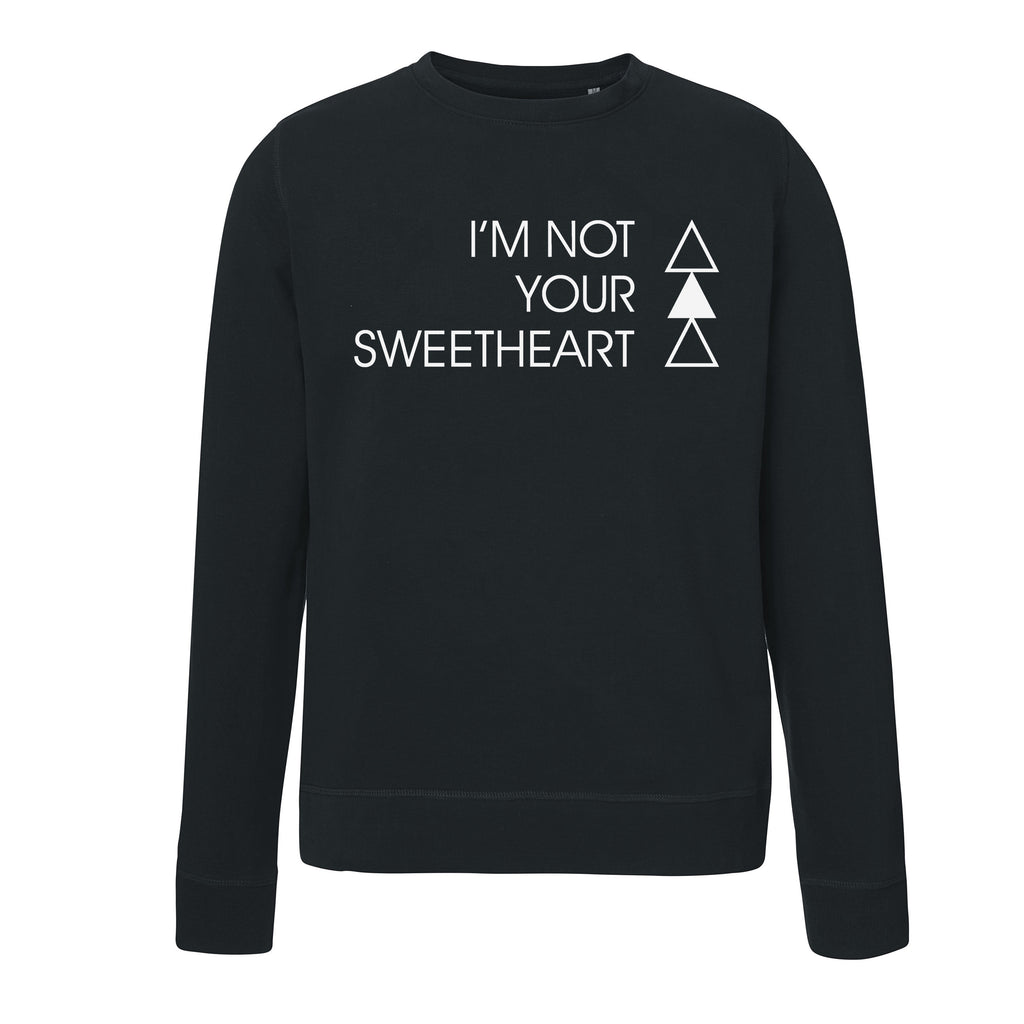 SWEETHEART SWEATER | BLACK - ANDRO CLOTHING GENDER FLUID ANDROGYNOUS CLOTHES FOR NON-BINARY LESBIAN AND LGBTQ+ FASHION