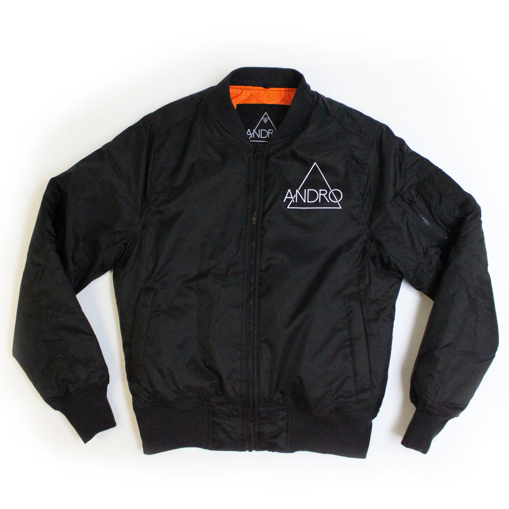 ANDRO BOMBER | BLACK - ANDRO CLOTHING GENDER FLUID ANDROGYNOUS JACKET FOR NON-BINARY ANDRO