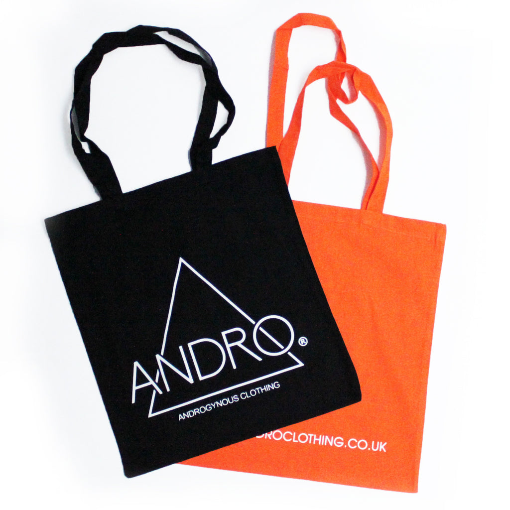 TOTE BAG  | BLACK & ORANGE - ANDRO CLOTHING GENDER FLUID ANDROGYNOUS CLOTHES FOR NON-BINARY LESBIAN AND LGBTQ+ FASHION