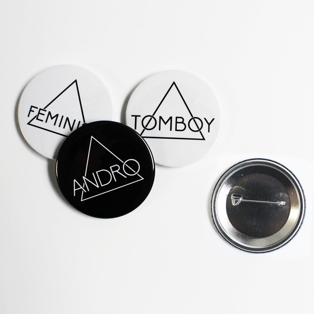 FEMINIST BADGES | 3 Pack - ANDRO CLOTHING GENDER FLUID ANDROGYNOUS CLOTHES FOR NON-BINARY LESBIAN AND LGBTQ+ FASHION