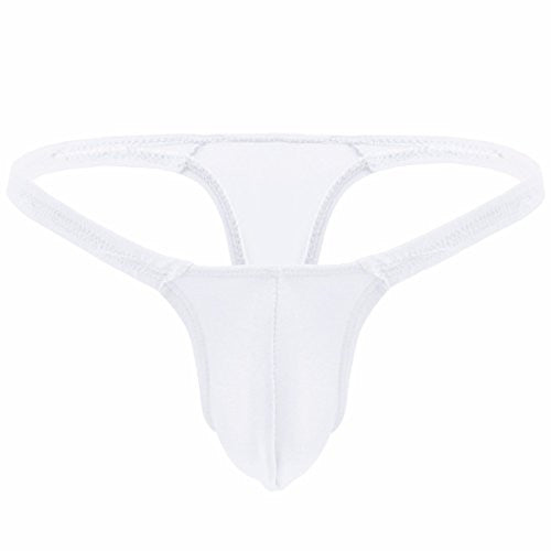 iEFiEL Mens Bulge Comfy Support G-string Thong Underwear White One size