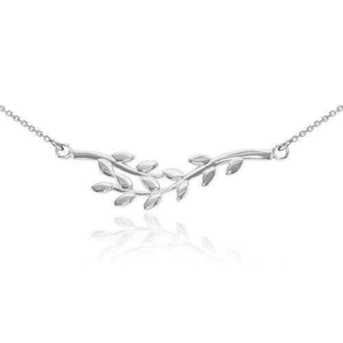 Polished 925 Sterling Silver Double Olive Branch Pendant Necklace, 20""