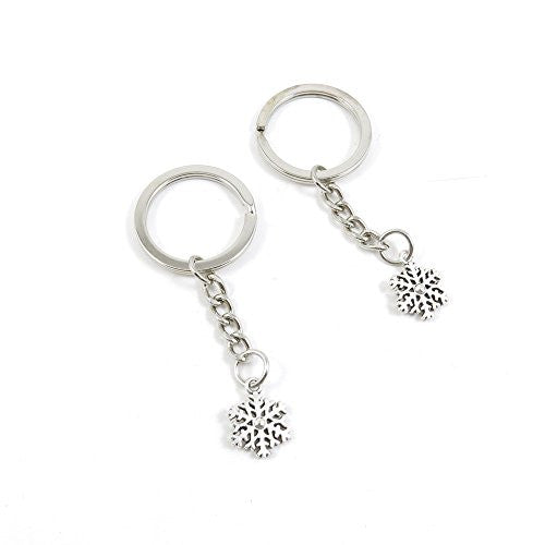 1 Pieces Keychain Door Car Key Chain Tags Keyring Ring Chain Keychain Supplies Antique Silver Tone Wholesale Bulk Lots C3GX3 Snowflake Snow Flake