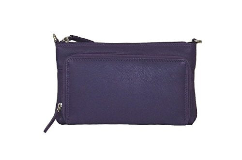 Pielino Genuine Leather Multi-pocket Organizer Mini Crossbody Bag 3106 (Purple)
