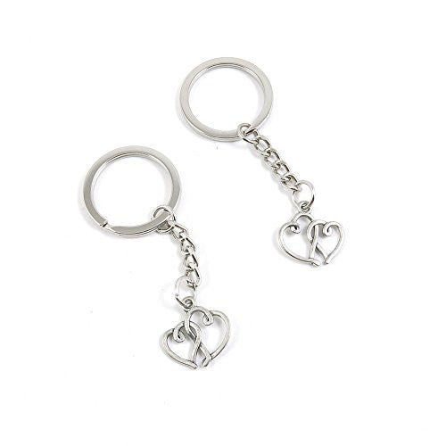 1 Pieces Keychain Door Car Key Chain Tags Keyring Ring Chain Keychain Supplies Antique Silver Tone Wholesale Bulk Lots P9HN8 Dual Hearts