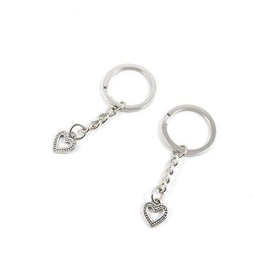 1 Pieces Keychain Door Car Key Chain Tags Keyring Ring Chain Keychain Supplies Antique Silver Tone Wholesale Bulk Lots T2UL8 Love Heart