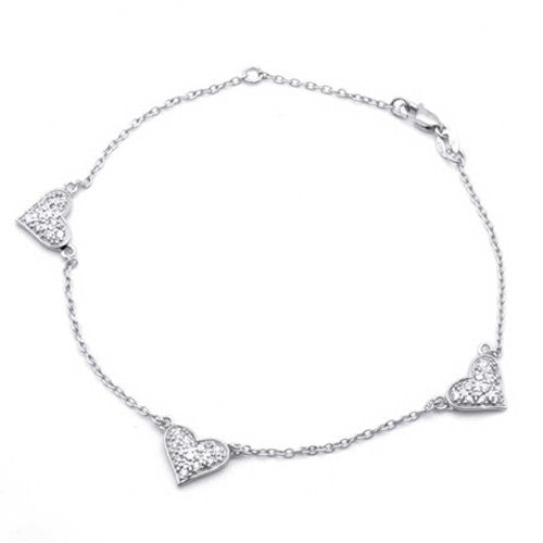 Bling Jewelry Pave CZ Three Heart 925 Sterling Silver Chain Anklet 8.5in