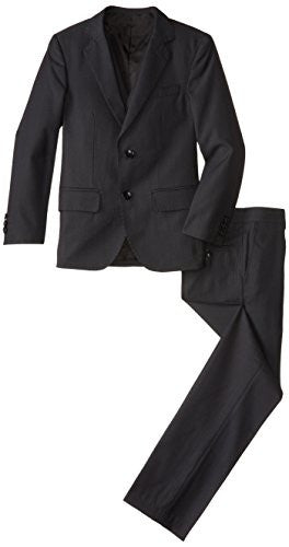 American Exchange Big Boys' 3 Piece Herringbone Suit Tailored Fit, Navy, 16