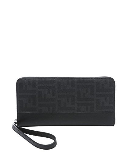 FENDI Men's Black Gray Zucca FF Zip Around Bifold Travel Wallet