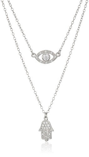 "Rhodium Plated Sterling Silver Round White Cubic Zirconia 3mm Hamsa Layered Pendant Necklace, 16""+2"" Extender"