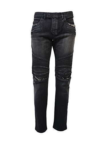 BALMAIN MEN'S POHT551C710V176 BLACK DENIM JEANS