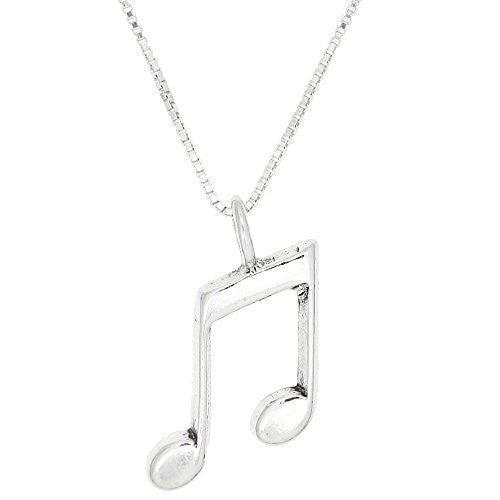Sterling Silver Oxidized One Sided Eighth Note Necklace (18 Inches)
