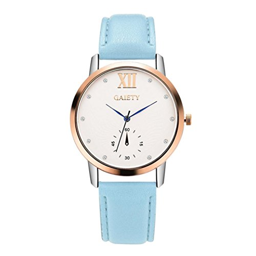 Women Fashion Watch,FUNIC Leather Band Analog Quartz Round Wrist Watch (Light Blue)