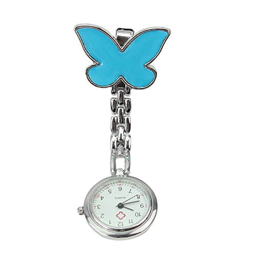 Refaxi®Unisex Butterfly Round Dial Clip-on Hanging Quartz Nurse Doctor Fob Pocket Watch