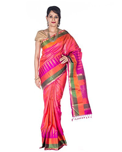 Rajarams Ethnic Wear Pink Color Kanjeevaram Pure Handloom Saree for Women
