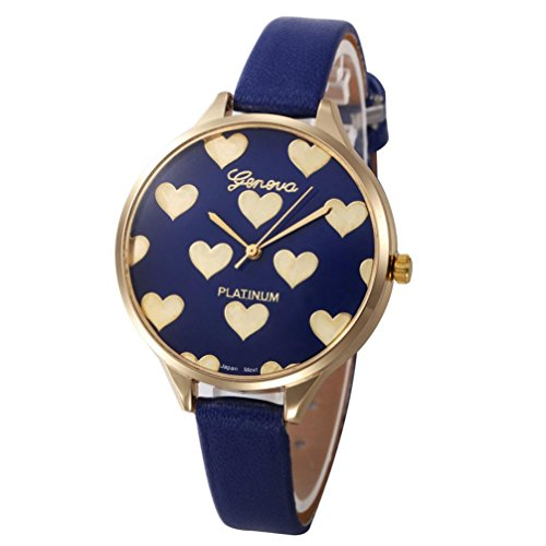 WILLTOO Women Checkers Faux Leather Quartz Wrist Watch Blue
