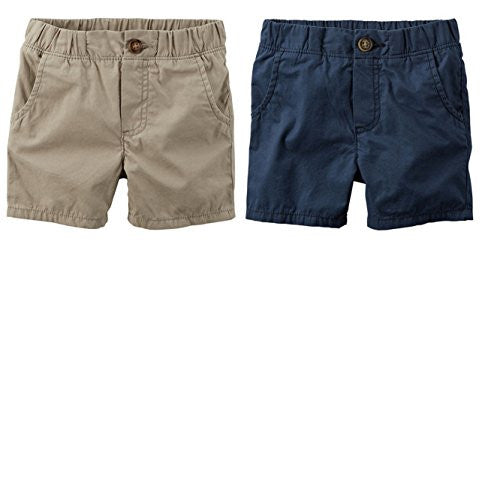 Carter's Toddler Boys 2 Pack Pull-On Soft Shorts (4T, Pull On Navy/Khaki)