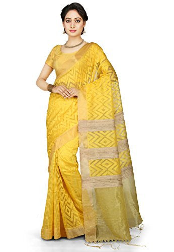 Utsav Fashion Bengal Handloom Pure Matka and Ghicha Silk Saree in Yellow