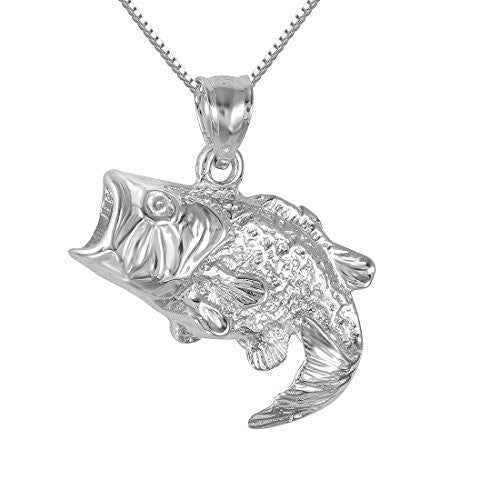 "Sterling Silver Bass Fish Charm / Pendant, Made in USA, 18"" Italian Box Chain (Only Pendant)"