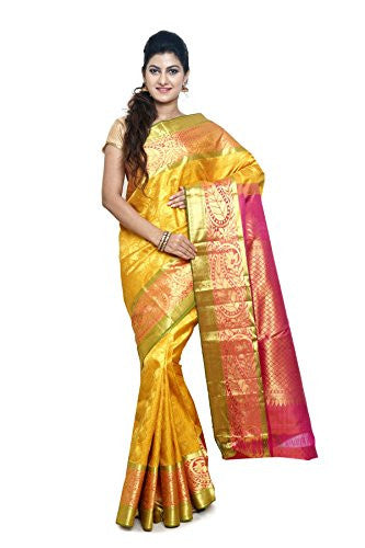 SUDARSHAN PURE SILK KANCHIPURAM SAREE-Yellow-MKJ47-MM-Pure Silk