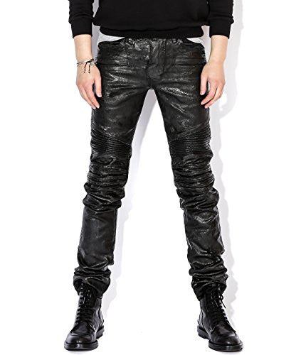 Balmain Men's Glossy Coated Biker Jeans 28 Black
