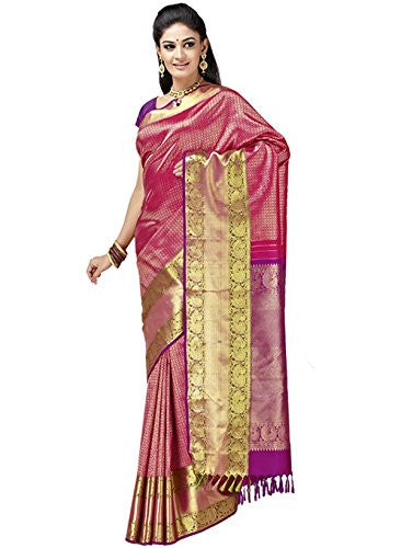 IndusDiva Women's Pink Pure Silk Saree