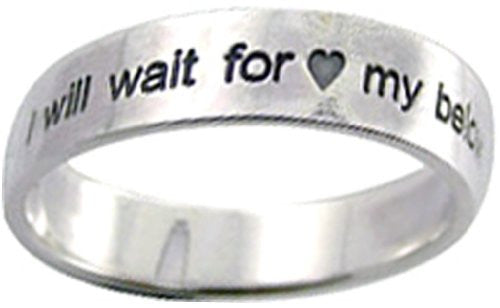 "Solid Rock Jewelry STERLING SILVER ""I WILL WAIT FOR MY BELOVED"" FLAT BAND CHRISTIAN PURITY RING STYLE 830-SIZE 7"