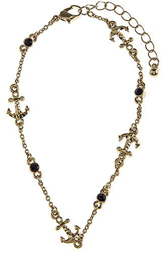 THE JEWEL RACK CRYSTAL ACCENT ANCHOR ANKLET (Gold)