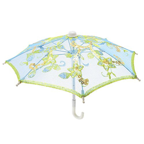 Embroider Flower Pattern Mini Lace Umbrella Parasol Blue for Child