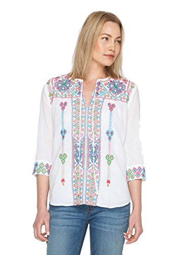 3J Workshop by Johnny Was White Ondria Boho Blouse (Small)