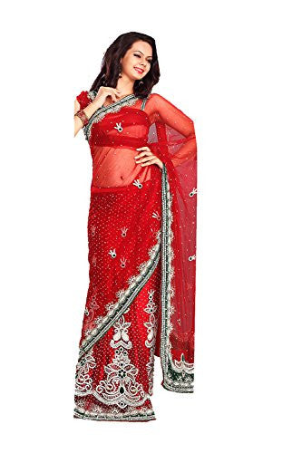 Indian Trends Attractive Looking Red Net Ethnic Saree For Women 78463