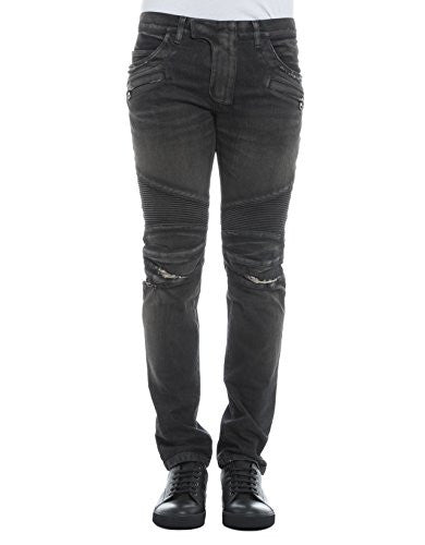 BALMAIN MEN'S P0HT551C710V176 GREY COTTON JEANS