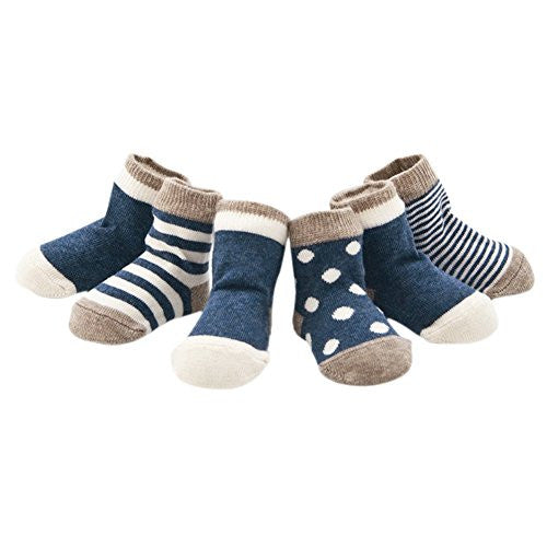 Evelin LEE Kids Unisex Baby Toddler Soft Socks 4 Pairs Crew Walkers Newborn Gift (0-6 months, Blue)