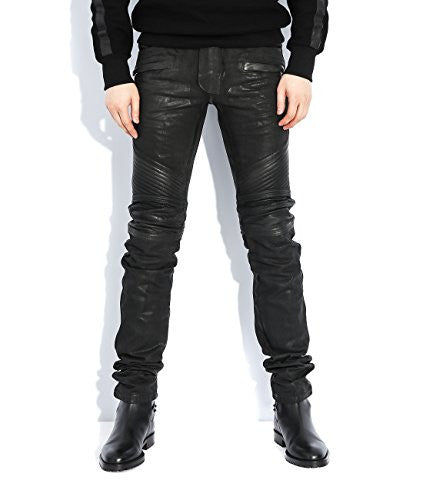 Wiberlux Balmain Slim Fit Men's Quilted Panel Coated Jeans 31 Black