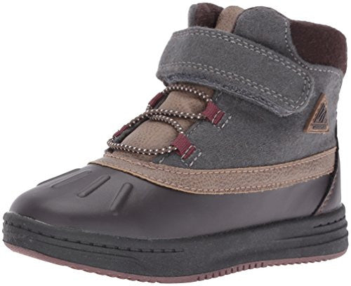 carter's Boys' Zore Pull-on Boot, Grey/Burgundy/Brown, 9 M US Toddler