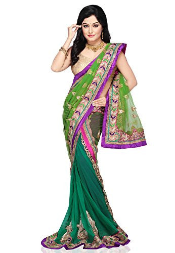 Utsav Fashion Green Net and Faux Georgette Lehenga Style Saree with Blouse