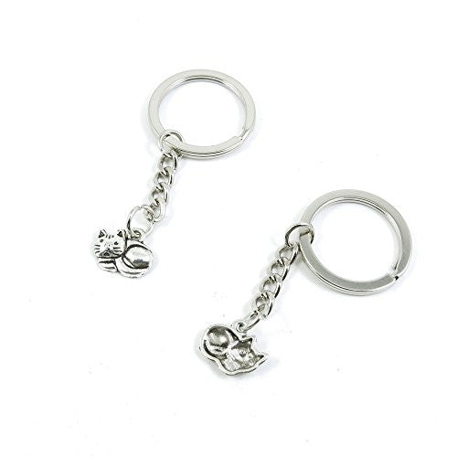 1 Pieces Keychain Door Car Key Chain Tags Keyring Ring Chain Keychain Supplies Antique Silver Tone Wholesale Bulk Lots B1UO6 Cat Kitten